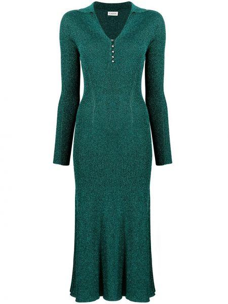 Плиссированное зеленое платье миди с вырезом Lanvin