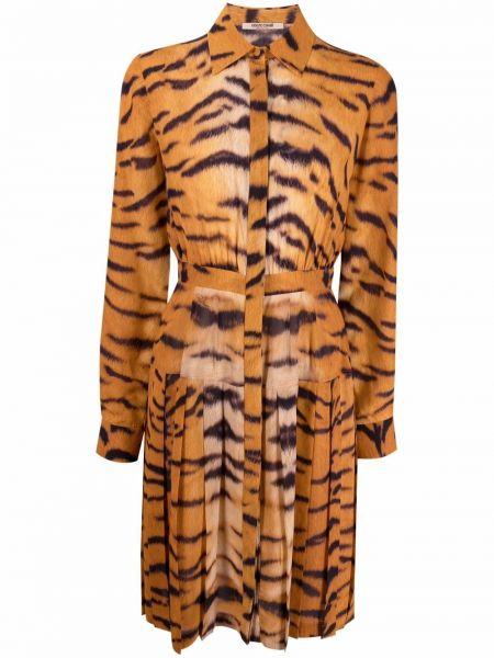 Шелковое платье макси классическое с воротником Roberto Cavalli