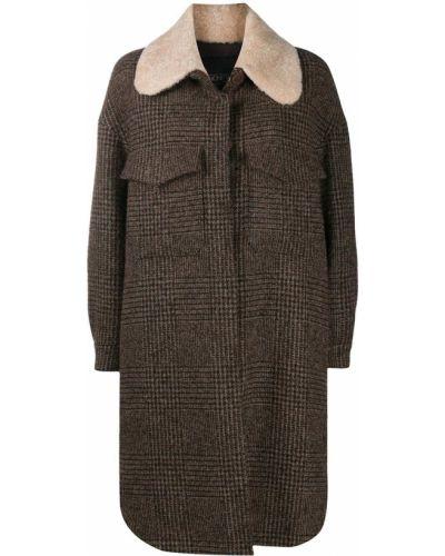 Коричневое длинное пальто Simonetta Ravizza