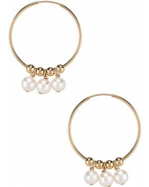 Złote kolczyki sztyfty perły oversize Paradigm