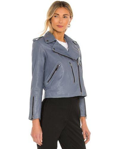 Синяя кожаная куртка на молнии Allsaints
