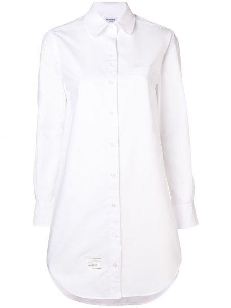 Biała sukienka mini z długimi rękawami bawełniana Thom Browne