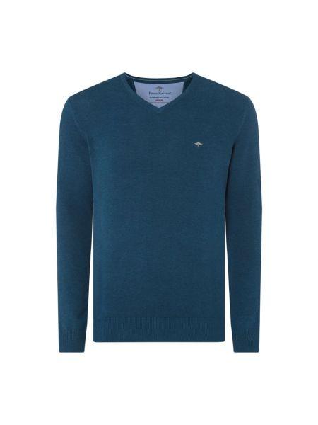 Sweter z dekoltem w serek - turkusowy Fynch-hatton