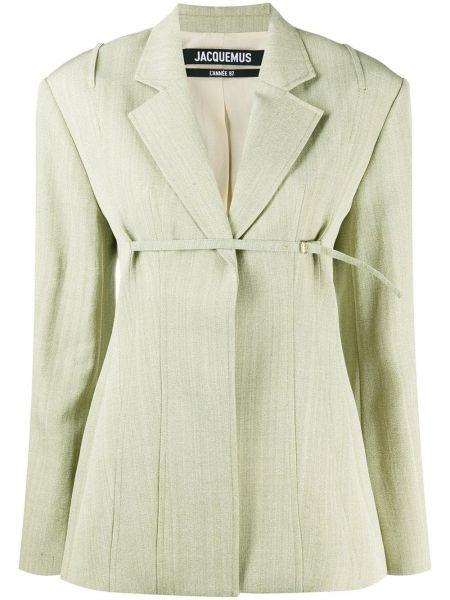 Зеленый шелковый удлиненный пиджак с лацканами Jacquemus