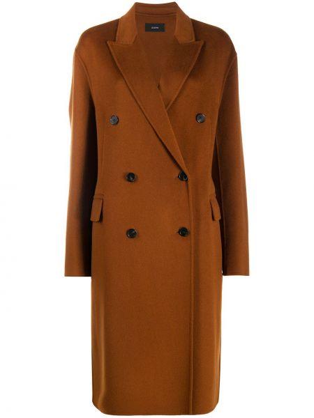 Оранжевое кашемировое длинное пальто двубортное Joseph