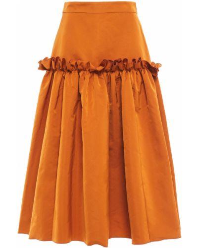 Ażurowa pomarańczowa satynowa spódnica midi Roksanda