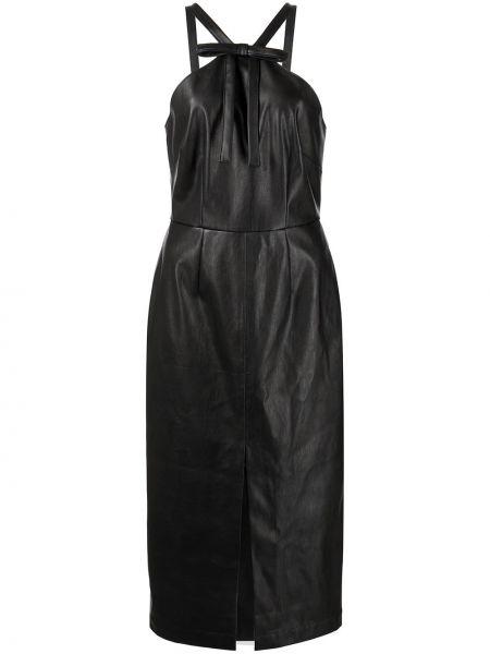 Кожаное платье миди - черное Fleur Du Mal