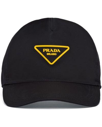 Z paskiem nylon czarny czapka z daszkiem z łatami Prada