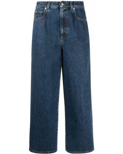 Кожаные синие укороченные джинсы с высокой посадкой Alexander Mcqueen