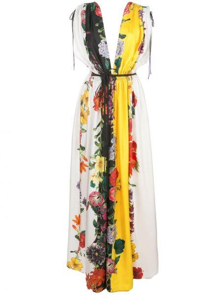 Платье с открытой спиной с цветочным принтом Oscar De La Renta