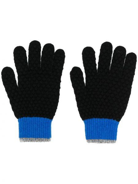 Prążkowane czarne rękawiczki wełniane Ps Paul Smith