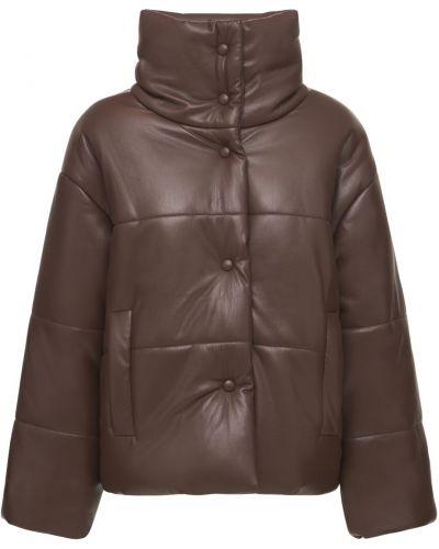 Коричневая кожаная куртка на кнопках Nanushka
