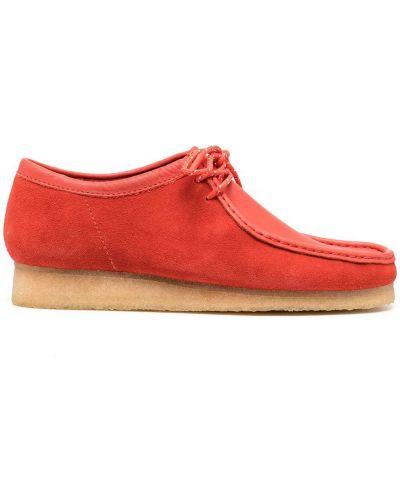 Оранжевые кожаные кружевные пинетки на шнуровке Clarks Originals