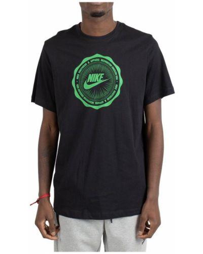 Czarna podkoszulka bawełniana z printem Nike