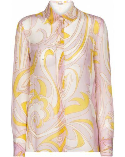 Розовая шелковая рубашка Emilio Pucci