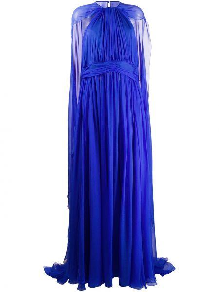 Вечернее платье плиссированное с поясом Zuhair Murad