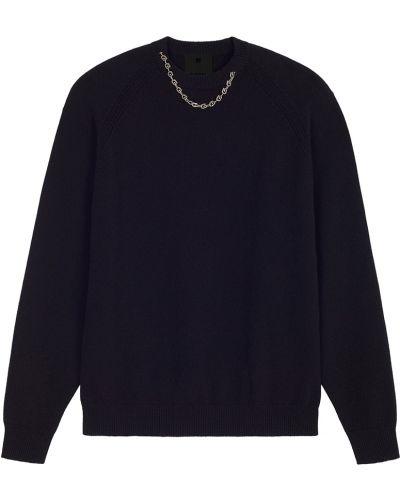 Prążkowany czarny z kaszmiru sweter Givenchy