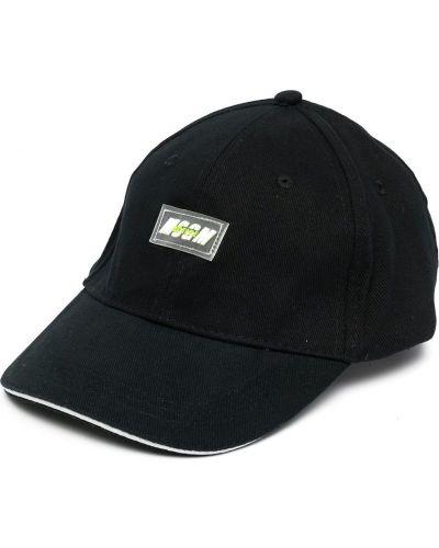 Bawełna bawełna czarny czapka z daszkiem z łatami Msgm