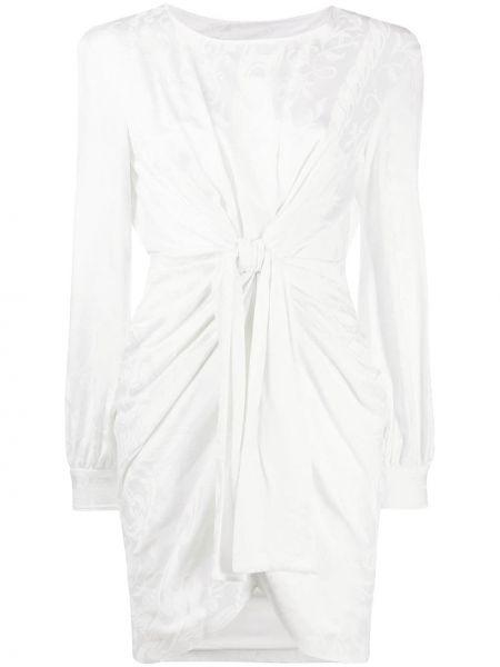 Белое платье макси с длинными рукавами с вырезом Moschino