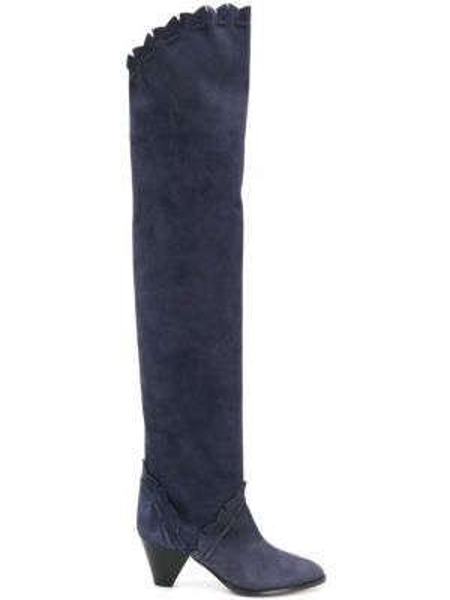 Синие кожаные сапоги на каблуке Isabel Marant