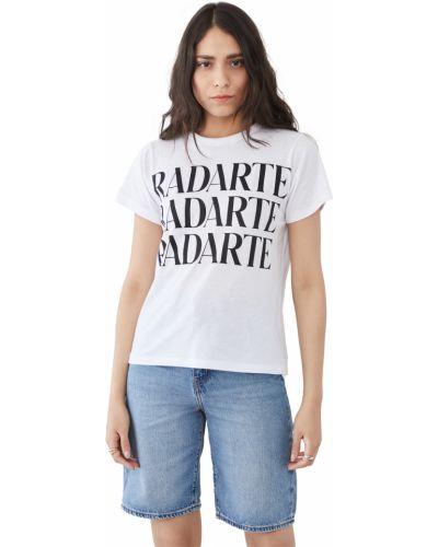 Хлопковая белая рубашка с короткими рукавами Rodarte