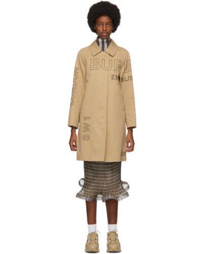 Бежевое длинное пальто с воротником с карманами Burberry