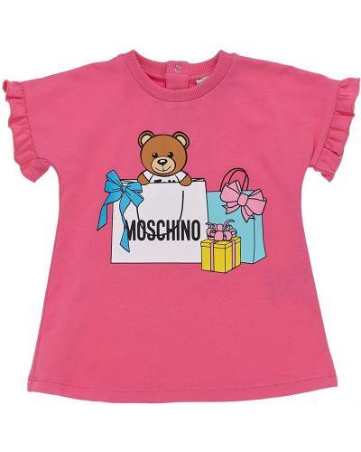 Różowa sukienka bawełniana z printem Moschino