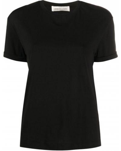 Прямая черная базовая футболка с круглым вырезом Lamberto Losani