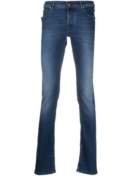 Хлопковые синие джинсы классические с карманами Jacob Cohen