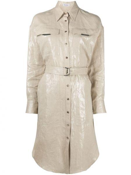 Прямое шелковое платье макси с воротником Brunello Cucinelli