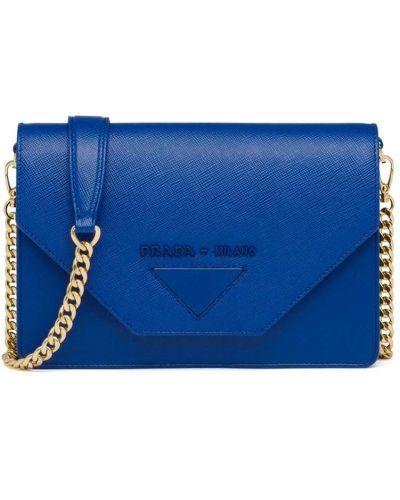 Złota kopertówka - niebieska Prada