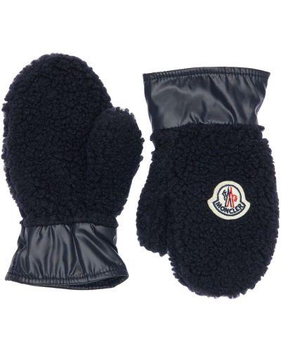 Nylon rękawiczki z mankietami na gumce z łatami Moncler