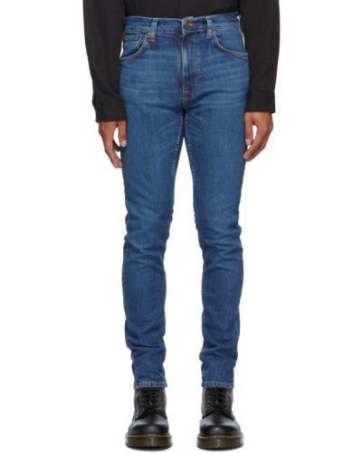 Синие джинсы с вышивкой стрейч Nudie Jeans