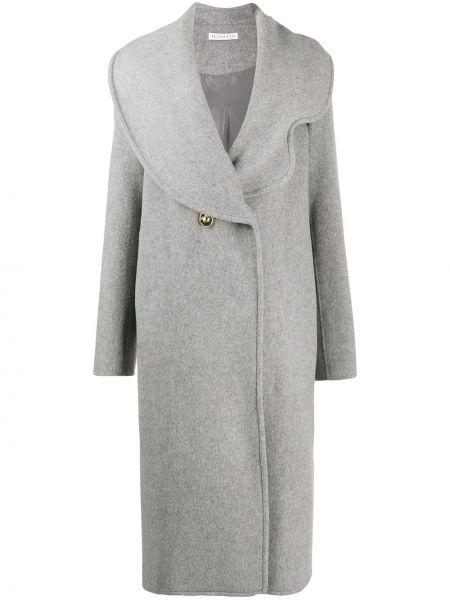 Серое шерстяное длинное пальто с капюшоном Rejina Pyo