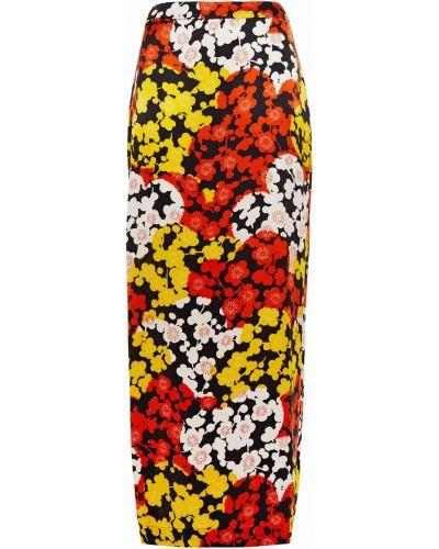 Оранжевая сатиновая юбка макси на крючках Mcq Alexander Mcqueen