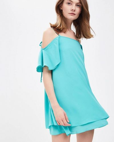 Бирюзовое платье с открытыми плечами Phard