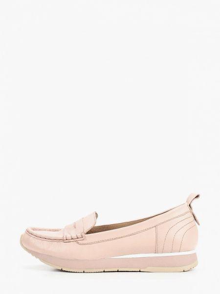 Мокасины кожаные розовый Tamaris