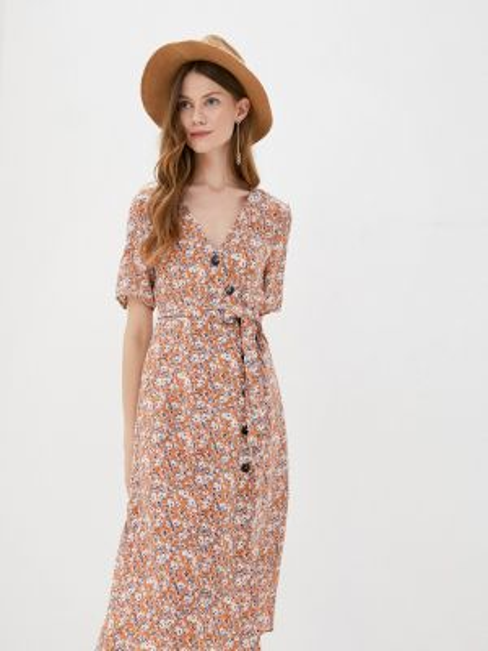 Однобортное бежевое платье Sweewe