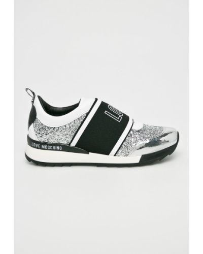 Серые кожаные ботинки Love Moschino