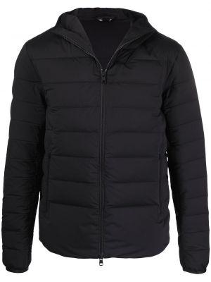 Klasyczna czarna długa kurtka z kapturem Moncler