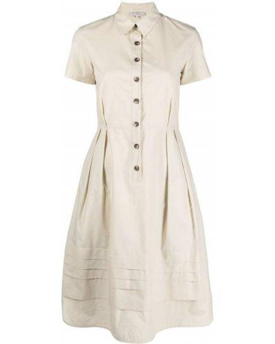 Прямое с рукавами бежевое платье-рубашка Antonelli