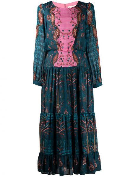 Синее платье с длинными рукавами Saloni