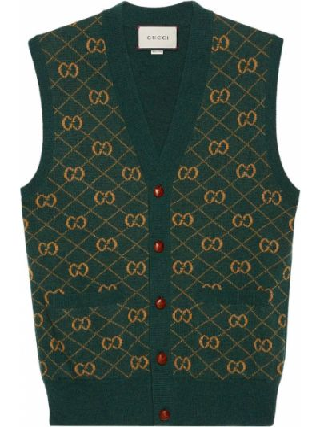 Zielony wełniany kamizelka bez rękawów z dekoltem w szpic Gucci