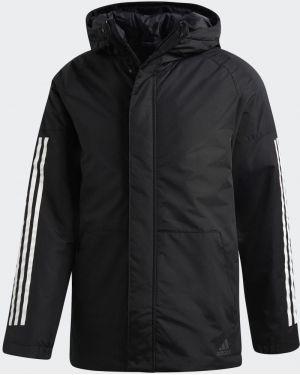 Повседневная черная утепленная куртка с нашивками с карманами Adidas