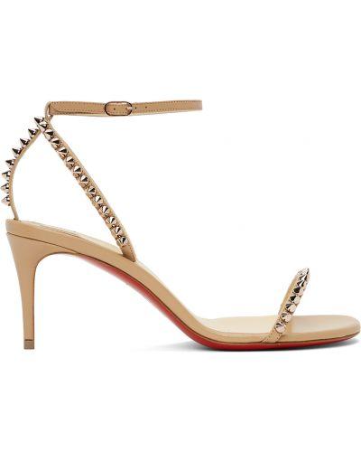 Beżowe złote sandały na obcasie Christian Louboutin
