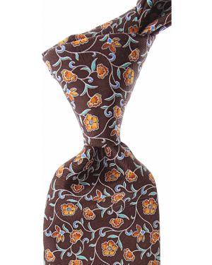 Brązowy krawat z jedwabiu Brioni