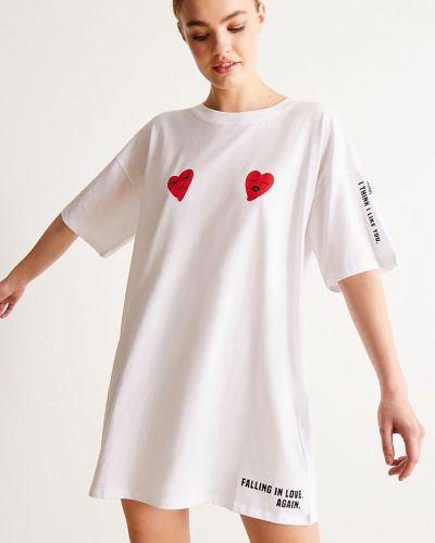 Biała piżama z koszulą bawełniana krótki rękaw Undiz