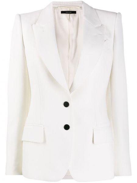 Приталенный белый пиджак с карманами Tom Ford