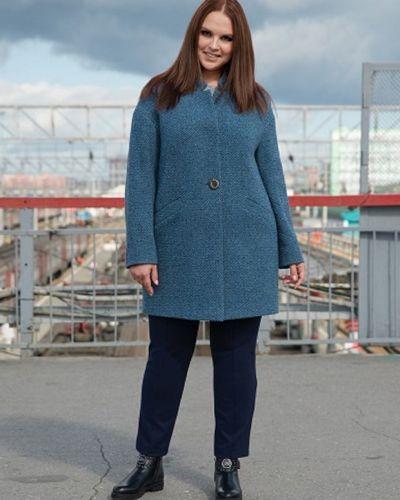 Синее шерстяное пальто с воротником синар