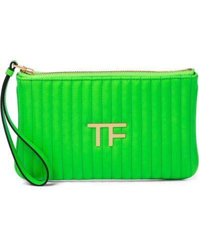 Стеганый зеленый клатч из натуральной кожи Tom Ford